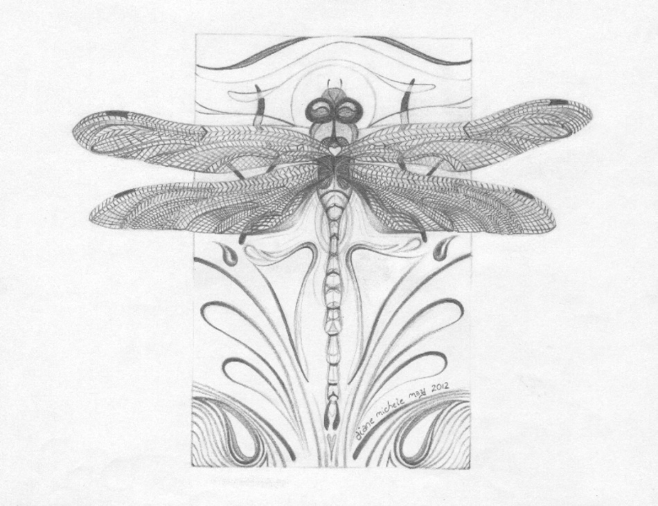 %22Radical Change%22 (dragonfly drawing), Grey, 100res